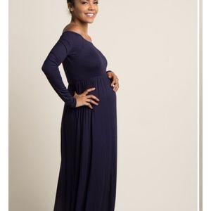 Pinkblush Dresses - Navy off the shoulder maternity maxi dress